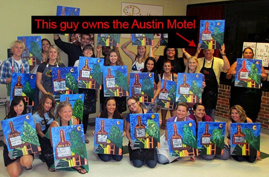 Painting the iconic Austin Motel sign at Painting With a Twist in Austin TX